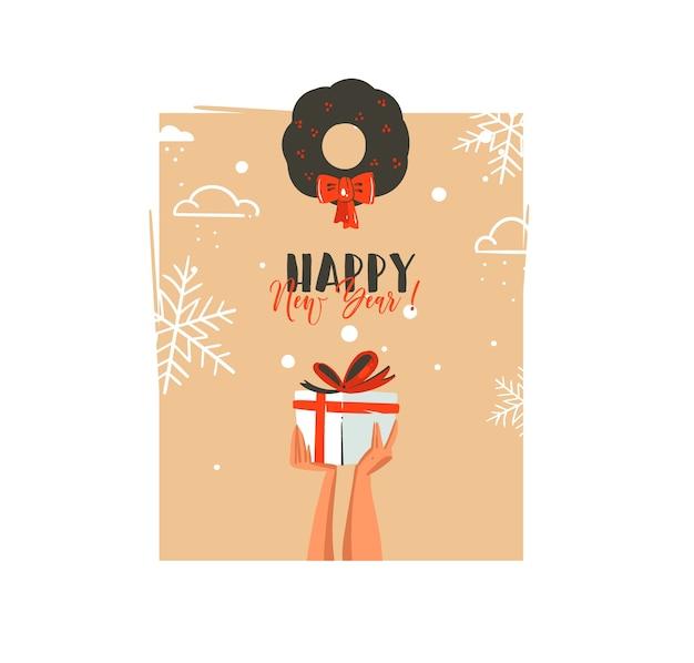 Cartolina d'auguri disegnata a mano delle illustrazioni del fumetto di tempo di buon natale e felice anno nuovo con le mani di persone che tengono il contenitore di regalo di sorpresa e il vischio isolato