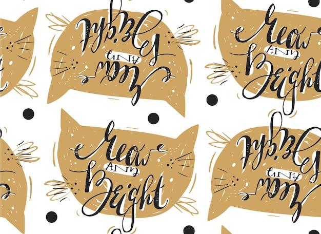 Modello di buon natale disegnato a mano con meow e luminoso fase di calligrafia moderna carina.