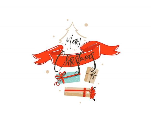 Carta disegnata a mano dell'illustrazione di saluto del fumetto di tempo di acquisto di buon natale con molti contenitori di regalo di sorpresa, nastro rosso e calligrafia scritta a mano su fondo bianco.