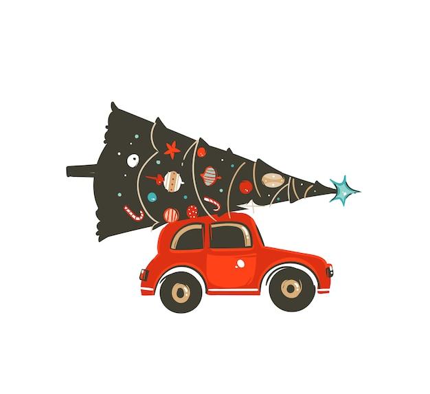 Elemento disegnato a mano dell'illustrazione dell'icona del coon di tempo di buon natale con l'auto rossa e l'albero di natale su fondo bianco