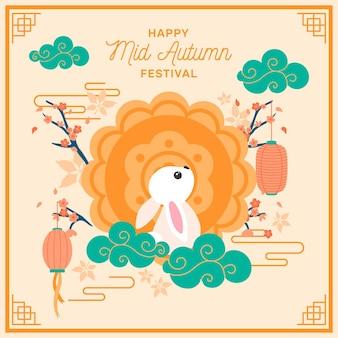 Concetto di festival di metà autunno disegnato a mano