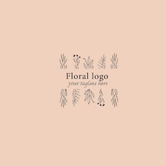 Modello di logo floreale minimale disegnato a mano logo con fogliame fiore selvatico erba trendy line art style