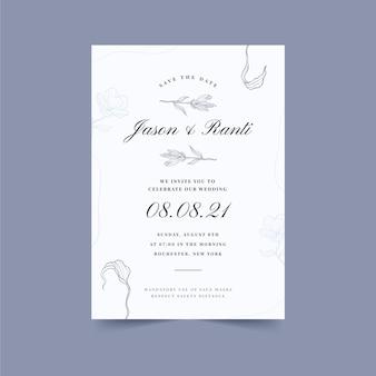 Invito a nozze minimalista disegnato a mano