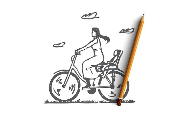 Mamma disegnata a mano con il giro del bambino sullo schizzo del concetto di bici