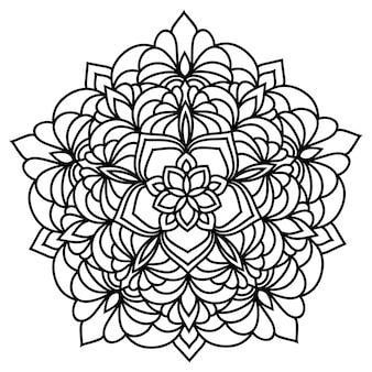 Mandala rotondo in pizzo ornamentale orientale monocromatico disegnato a mano