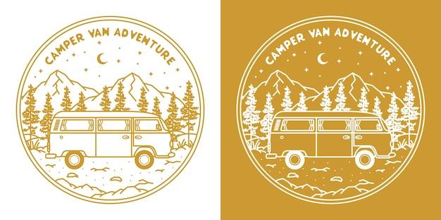 Camper monoline disegnato a mano in montagna