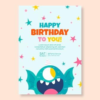 Modello di invito compleanno mostro disegnato a mano