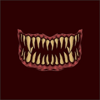 Illustrazione vettoriale di denti mostro disegnati a mano