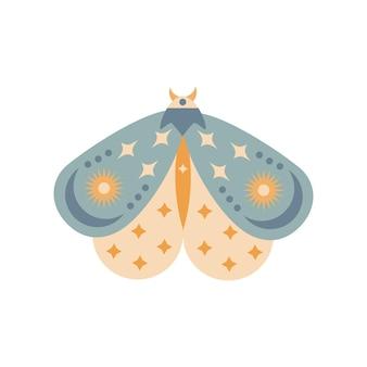 Falena disegnata a mano isolata su priorità bassa bianca. illustrazione di vettore della farfalla di boho. simboli misteriosi. design per compleanni, feste, stampe di abbigliamento, biglietti di auguri.