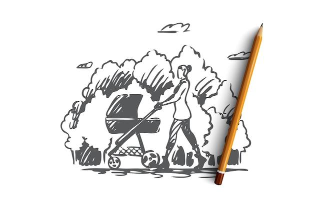 Madre disegnata a mano con un bambino a piedi nello schizzo del concetto di parco