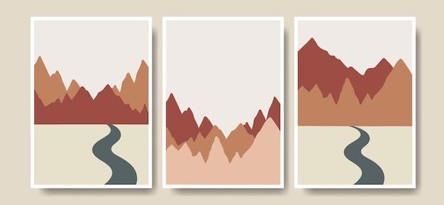 Collezione di arte vettoriale di copertina di poster di forma boho di montagna disegnata a mano