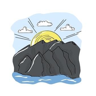 Paesaggio di montagna disegnato a mano con sole e nuvole. illustrazione vettoriale di natura.
