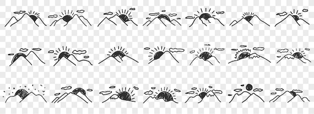 Insieme di set di cime di montagna disegnate a mano. insieme di scarabocchi. scarabocchio di montagne