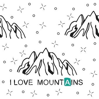 Reticolo senza giunte di montagna disegnato a mano. modello di paesaggio. illustrazione vettoriale - amo la stampa delle montagne