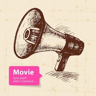 Illustrazione del film disegnata a mano. sfondo di schizzo