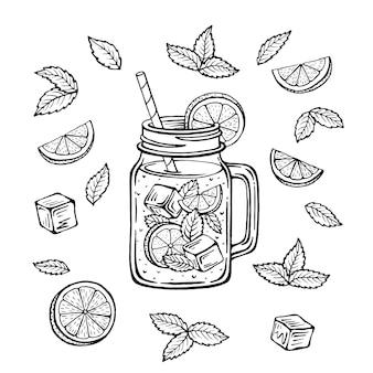 Tazza disegnata a mano con ghiaccio e una fetta di limone e una paglia e foglie di menta, schizzo di limonata in un bicchiere.
