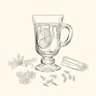 Illustrazione vettoriale di vin brulé disegnato a mano. calice da vin brulè, arancia, bastoncini di cannella, chiodi di garofano, vaniglia, anice, cardamomo, zenzero stile incisione