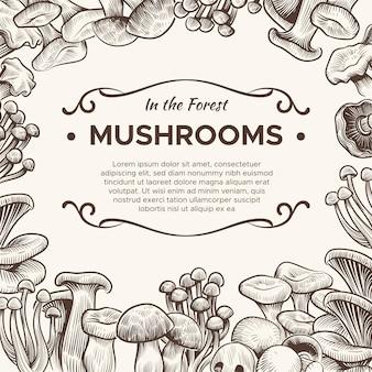 Funghi champignon disegnati a mano, tartufo, porcini e finferli, shiitake, schizzo vintage per menu vegetariano, sfondo di incisione vettoriale di imballaggio