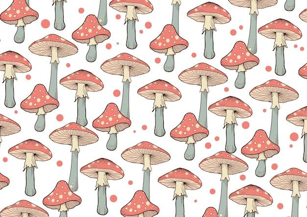 Fondo disegnato a mano del modello del fungo