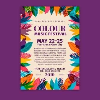 Modello di poster del festival musicale disegnato a mano
