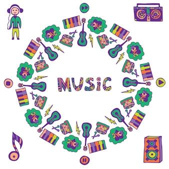 Telaio di musica disegnata a mano. icone colorate di musica doodle. modello per volantino, banner, poster, copertina