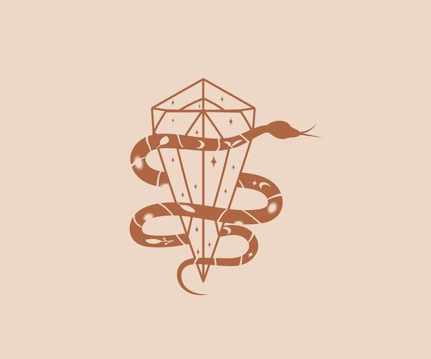 Il serpente mistico disegnato a mano avvolge il diamante di cristallo con le stelle per proteggere gli elementi e il simbolo magici