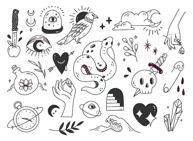 Doodle mistico disegnato a mano, elemento di design