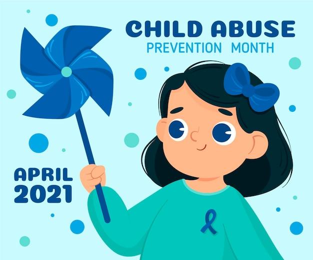 Illustrazione di mese di prevenzione degli abusi sui minori nazionali disegnata a mano