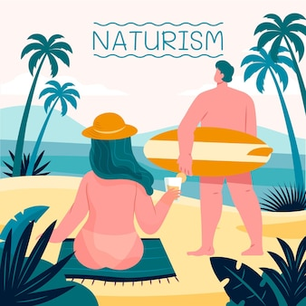 Illustrazione disegnata a mano di concetto di naturismo