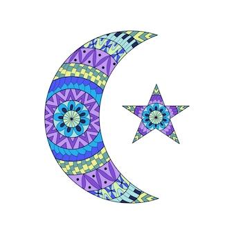 Luna nuova e stella disegnate a mano.