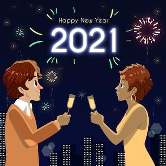 Fondo disegnato a mano del nuovo anno 2021 con l'uomo e la donna
