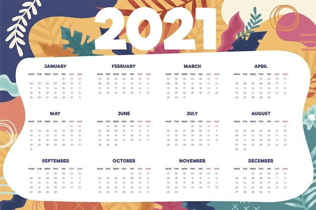 Calendario del nuovo anno 2021 disegnato a mano