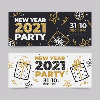 Set di banner festa di capodanno 2021 disegnati a mano