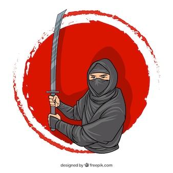 Disegnati a mano ninja personaggio sullo sfondo