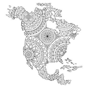 Disegnato a mano della mappa del nord america in stile mandala