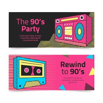 Striscioni nostalgici anni '90 disegnati a mano