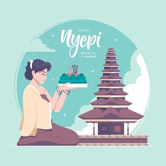 Nyepi disegnato a mano significa balis giorno del silenzio illustrazione sfondo