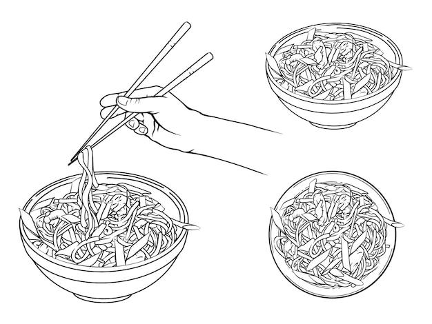 Oggetti disegnati a mano. tagliatelle giapponesi in una ciotola, mano che tiene le bacchette. stile artistico