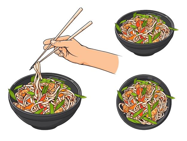 Oggetti disegnati a mano. tagliatelle giapponesi in una ciotola, mano che tiene le bacchette.