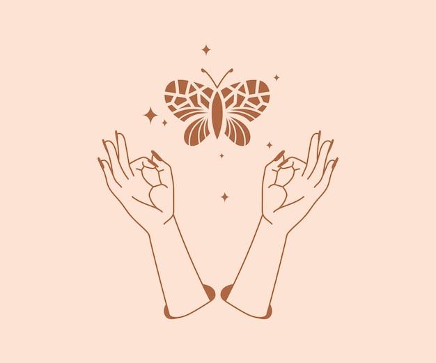 Occultismo disegnato a mano logo di mani magiche con elementi di design mistico esoterico di farfalle e stelle