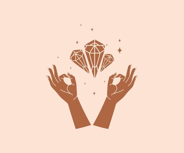 Occultismo disegnato a mano logo di mani magiche con elementi di design mistico esoterico di stelle di cristallo