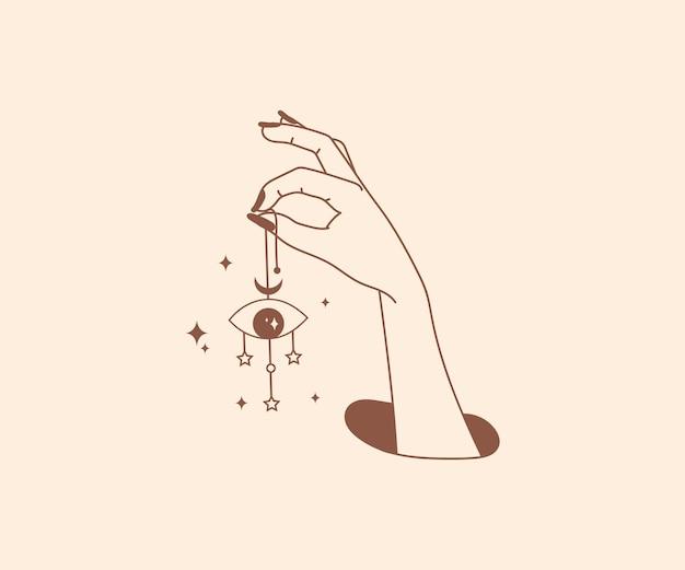 Occultismo disegnato a mano logo delle mani magiche con elementi di design mistico esoterico dell'occhio del dio della stella
