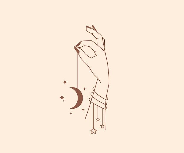 Occultismo disegnato a mano logo di mani magiche con elementi di design mistico esoterico esoterico di stelle di cristallo luna