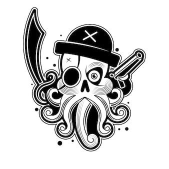 Polpo disegnato a mano come pirata, totem animale per adulto da colorare in stile zentangle, per tatuaggio, illustrazione con dettagli elevati isolato su priorità bassa bianca. abbozzo di vettore. collezione mare.