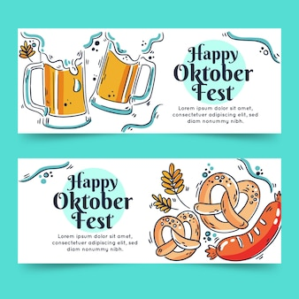 Banner più oktoberfest disegnati a mano con birra