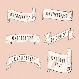 Collezione di nastri più oktoberfest disegnati a mano