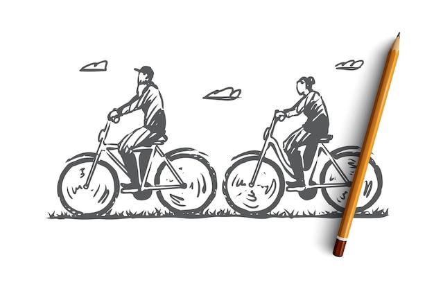 Schizzo di concetto all'aperto in bicicletta delle vecchie coppie disegnate a mano