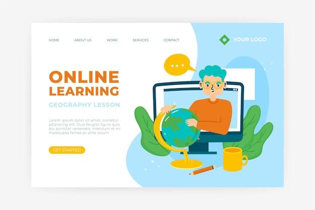 Pagina di destinazione di apprendimento online disegnata a mano Vettore Premium