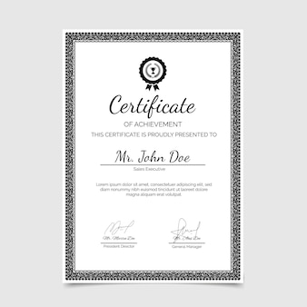 Certificato ornamentale di conseguimento disegnato a mano