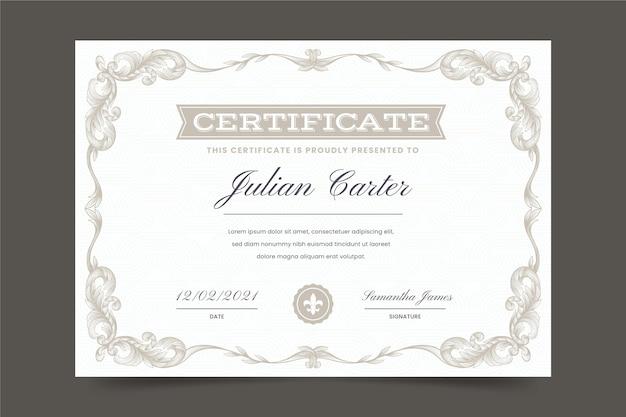 Certificato ornamentale disegnato a mano